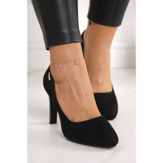 Classic Womens Pumps On A Block Heel Suede Black Eliana dámské Other 38