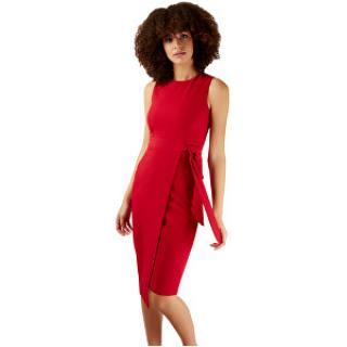 Closet London Dámske šaty Closet Tie V-Back Pencil Dress Red XL dámské