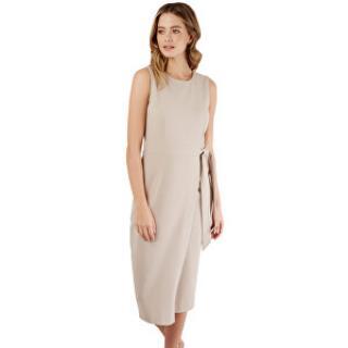 Closet London Dámské šaty Closet Tie V-Back Pencil Dress Taupe S dámské