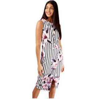 Closet London Dámske šaty Floral and Striped Wrap Pencil Dress Ivory M dámské