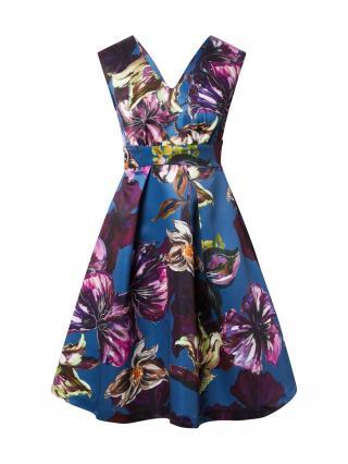 Closet London Kokteilové šaty  tmavomodrá / fialová / biela / hnedá dámské 36