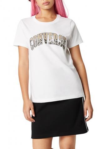 Converse biele tričko s leopardím motívom - S dámské biela S