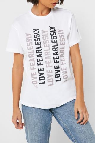 Converse biele tričko s nápismi - S dámské biela S