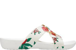 Crocs Dámske šľapky Crocs Serena Prntd Cross Band Slde W Flora l / White 206434-97E 38-39 dámské
