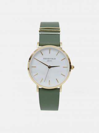 Dámske hodinky so zeleným koženým remienkom Rosefield dámské zelená