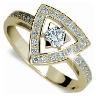 Danfil Luxusný zlatý prsteň s diamantmi DF1970z 53 mm