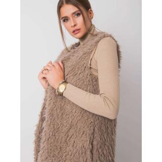 Dark beige fur vest dámské Neurčeno M