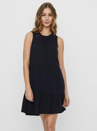 Dark Blue Linen Loose Dress VERO MODA Helen dámské Tmavě modrá XS