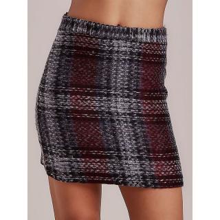 Dark gray checked mini skirt dámské Neurčeno S