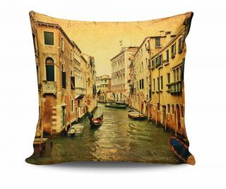 Dekoračný vankúš Venice Gondola 45x45 cm Žltá & Zlatistá 45x45 cm