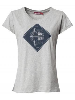 Derbe Tričko Mirage Girls  sivá melírovaná / tmavomodrá dámské S