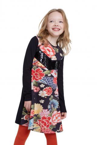 Desigual čierne dievčenské šaty Vest Minatitlán s farebnými motívmi - 3/4 čierna 3/4