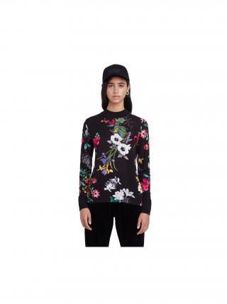 Desigual čierne tričko TS Indiana s farebnými kvetmi dámské čierna XL