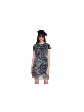 Desigual čierne vzorované šaty Vest Paris dámské čierna S