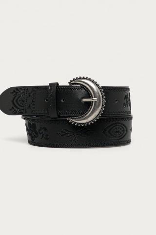 Desigual - Kožený opasok dámské čierna 95
