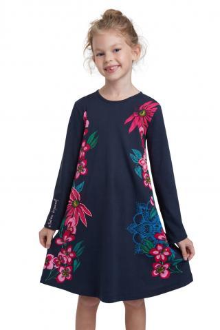 Desigual modré dievčenské šaty Vest Wildflower - 3/4 modrá 3/4