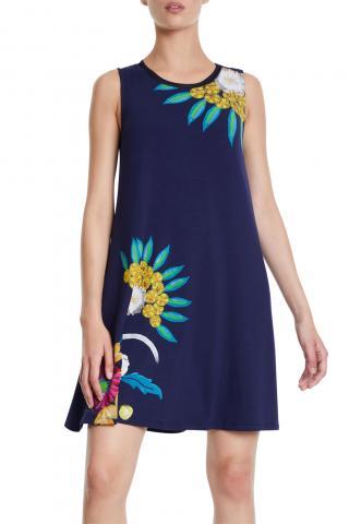 Desigual modré šaty Vest Love Others - XS dámské modrá XS