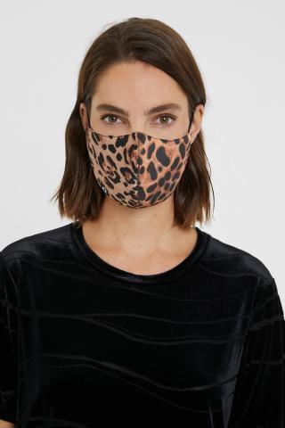 Desigual obojstranná rúška Leopard čierna