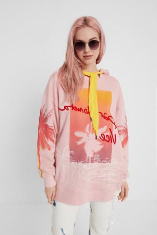 Desigual ružovo-žltá oversize dámska mikina Sweat Tropical Barceloneta - S dámské S