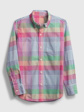 Detská košeľa plaid poplin shirt Farebná fialová 116-128