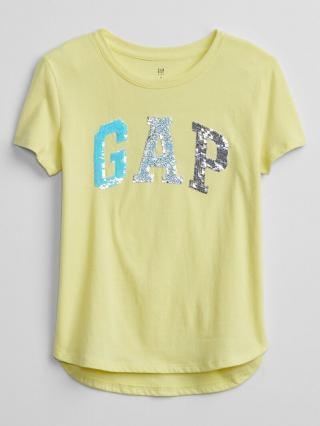 Detské tričko GAP Logo flippy sequin t-shirt Žltá 158