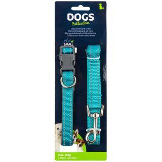 Dogs Obojok pre psa s vodítkom vel. small, tyrkysová