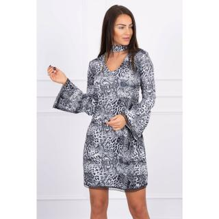 Dress with an animal motif gray dámské Neurčeno One size
