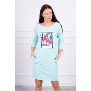 Dress with flamingo graphics 3D mint dámské Neurčeno One size