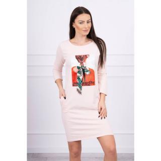 Dress with graphics 3D Noteworthy powdered pink dámské Neurčeno One size