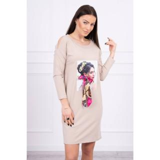 Dress with graphics and colorful bow 3D beige dámské Neurčeno One size