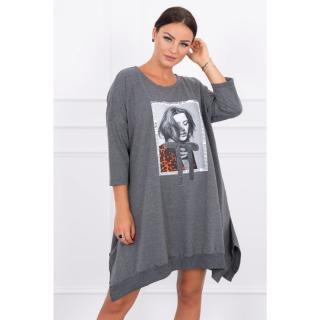 Dress with print and flared bottom graphite dámské Neurčeno One size