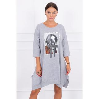 Dress with print and flared bottom gray dámské Neurčeno One size