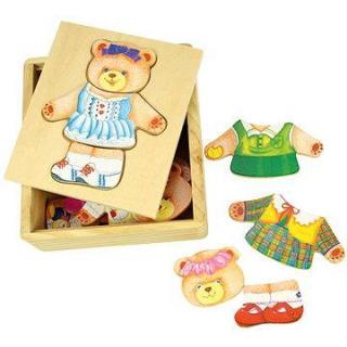 Drevené obliekacie puzzle v krabičke - Pani Medvedica