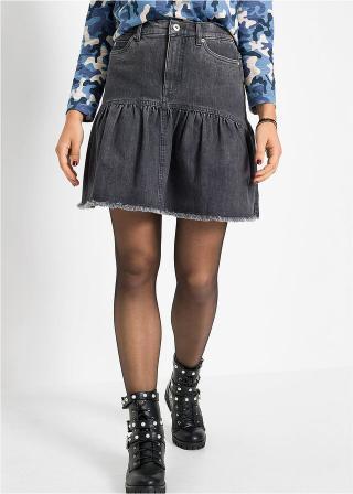 Džínsová sukňa s volánom dámské šedá 34,36,38,40,42,44,46