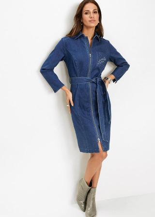 Džínsové šaty dámské modrá 42,36,38,40,44,46,48,50,52,54