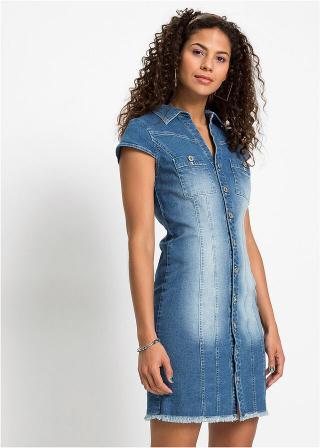 Džínsové šaty s gombíkmi dámské modrá 34,36,38,40,42,44,46