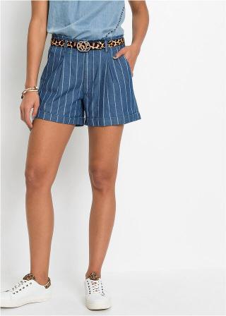 Džínsové šortky s pásikmi dámské modrá 34,36,38,40,42,44,46,48