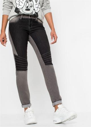 Džínsy, Skinny dvojfarebné s deliacimi švíkmi dámské šedá 32,34,36,38,40,44,46,48,50