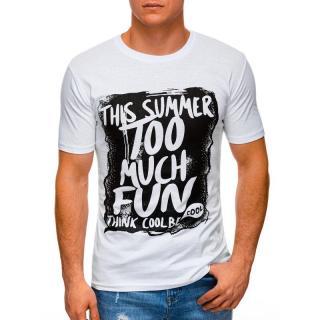 Edoti Mens printed t-shirt S1395 pánské White M