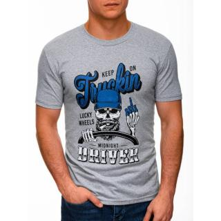 Edoti Mens printed t-shirt S1407 pánské Grey M