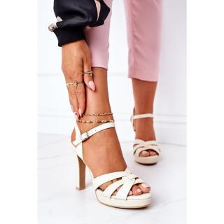 Elegant Sandals On A Block Heel Beige Anastasia dámské Other 38