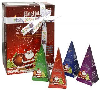 English Tea Shop Darčeková kolekcia 12 pyramidek Červený Santa 4 príchute -ZĽAVA - potrhaná darčeková krabička