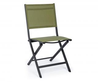 Exteriérová skladacia stolička Elin Charcoal Zelená