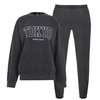 Fabric City Washed Sweatshirt and Jogger Tracksuit Co Ord Set dámské Other S
