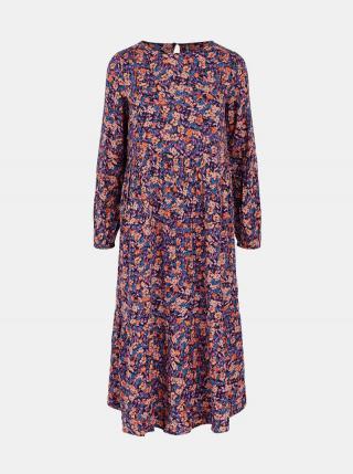 Fialové kvetované midišaty Pieces Lubbie dámské fialová M