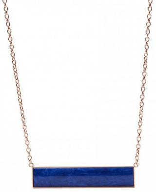Fossil Bronzový náhrdelník s modrým príveskom JF02549791