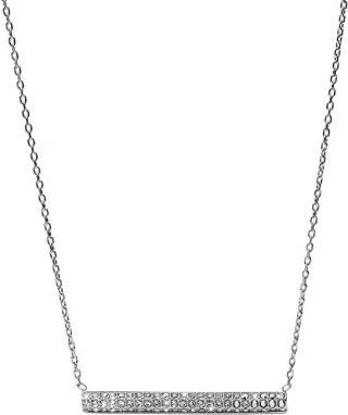 Fossil Oceľový náhrdelník s kryštálmi JF02145040