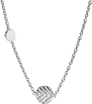 Fossil Oceľový náhrdelník s kryštálmi JF02674040