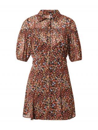 Free People Košeľové šaty BONNIE  čierna / oranžová / biela / zelená dámské 34