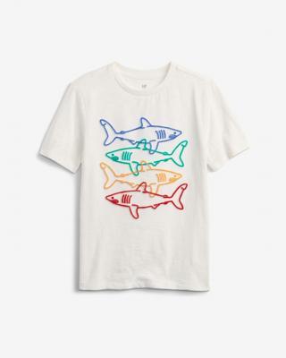 GAP Shark Graphic Tričko detské Biela pánské XL